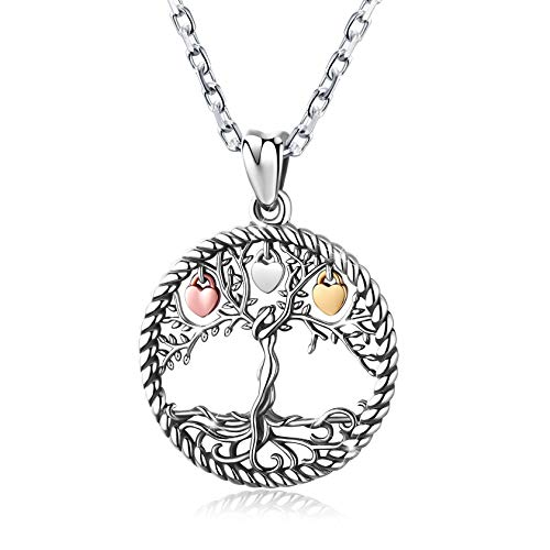 Eusense 925 Sterling Silver Tree of Life Necklace, Family Tree Pendant with 18' Chain,...