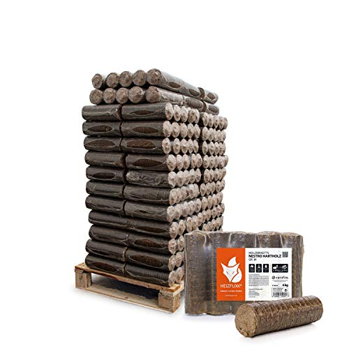 HEIZFUXX Holzbriketts Hartholz Nestro M Kamin Ofen Brenn Holz Heiz Brikett 6kg x 50 Gebinde 300kg / 1 Palette Paligo