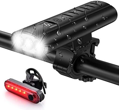 Bike Light Set USB Rechargeable 5400mAh Bike Headlight Taillight with Digital Display 3 LED product image