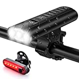 Bike Light Set USB Rechargeable 5400mAh Bike Headlight & Taillight with Digital Display,3 LED Super Bright 1600 Lumen 6 Lights Modes for All Bicycles, Road, Mountain - IP65 Waterproof
