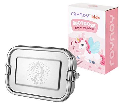 roynoy | Edelstahl Brotdose Kinder Einhorn | wasserdicht | mit Trennwand | Bento Box Kinder | Frühstücksbox | für Kindergarten Kita Schule