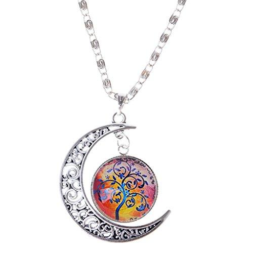 Joyería Collar Cadena Colgante Media Luna de árbol Vida Novedad Cabochon Cristal Mujeres - 3