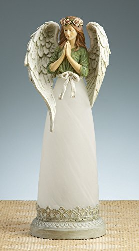 Napco Tall Light Up Frosted Glass Stone Angel Lamp -  18137