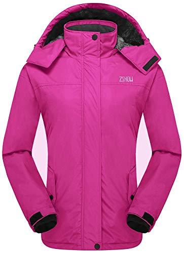 ZSHOW Women's Waterproof Ski Jacket Hooded Mountain Snow Winter Raincoat(Rose Red, Medium)