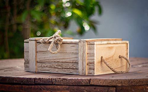 Meinposten Holzkiste mit Deckel Kiste Schatzkiste Schatztruhe Holzkasten Holz braun Truhe mit Deckel (H 15 x B 36 x T 26 cm) - 4