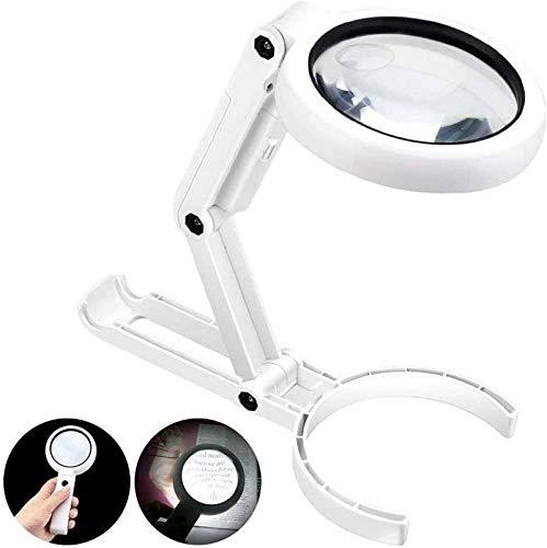 SHKUU Lupa 5X y 11X, Lupa de Escritorio iluminada Plegable de Mano con 8 Luces LED, Carga USB para Adultos y niños, Lectura, Pasatiempos