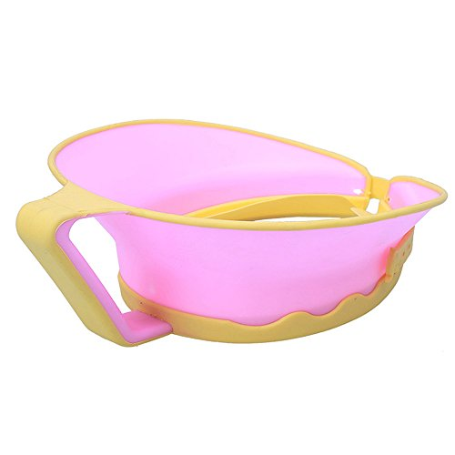 iBalody Bébé Enfants Bain Cap Visière Chapeau Réglable Douche Shampoing Protéger Oreilles Oreilles Cheveux Bouclier Imperméable À L'eau Splashguard pour Enfants Dans (Color : Pink)