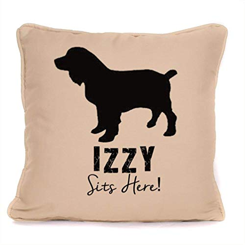 Personalised Gift For Dog - Cocker Spaniel Sits Here - Piped Cushion With Pad Included - 18 x 18 Inch.