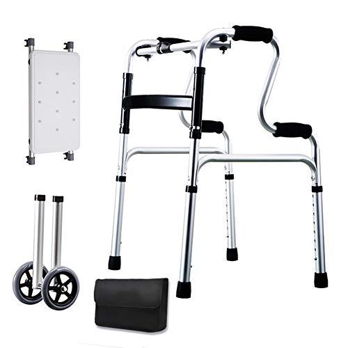 Gehhilfe für Senioren Deluxe Älterer Rollator mit Sitz und Aufbewahrungstasche, Faltbare Laufgestell Trolley for Indoor- und Outdoor-Ues Unterstützt 160kg (353 Lbs)