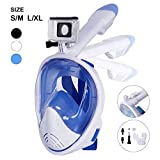 Unigear 180° Full Face Snorkel Mask -Panoramic View with Detachable for GoPro Mount and Earplug,Anti-Fog Anti-Leak Snorkeling Design for Adults and Youth (White, S/M)