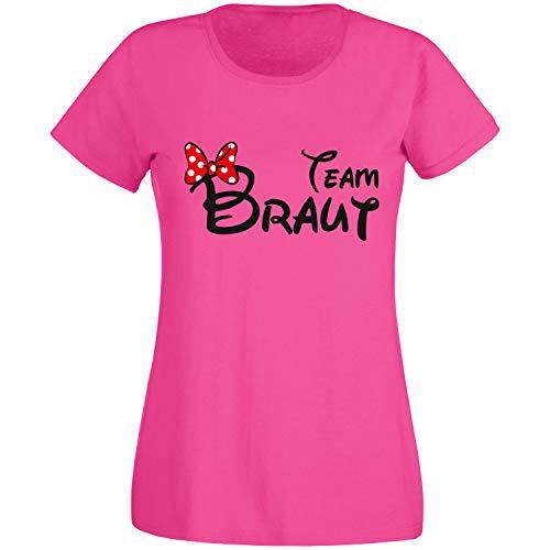 Shirt-Panda JGA T-Shirt Damen Team Braut Maus · Junggesellinnenabschied T Shirt · Viele Farben · Größen XS - XXL Pink - Team Braut XL