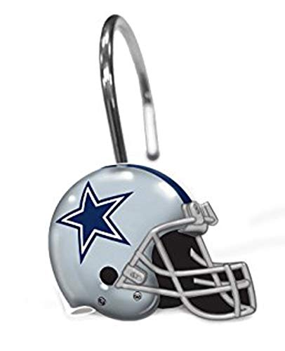 Officially Licensed NFL Dallas Cowboys Shower Curtain Rings, One Size, Multi Color, Set of 12