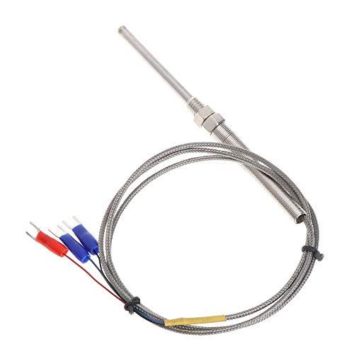 XIGAWAY 1M PT100 - Sonda termopar (5 mm x 50 mm, 3 hilos, rosca M8, 3,3 pies, sensor de temperatura