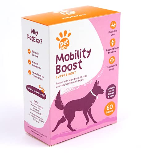 PetExx Mobility Boost 60 tablets - joint support for mobility with turmeric glucosamine green lipped mussel formulated by vets for senior dogs and cats - manufactured in UK