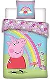 AYMAX S.P.R.L Peppa Pig Parure de lit pour Enfant - Housse de Couette + Taie 140x200 + 63x63 cm