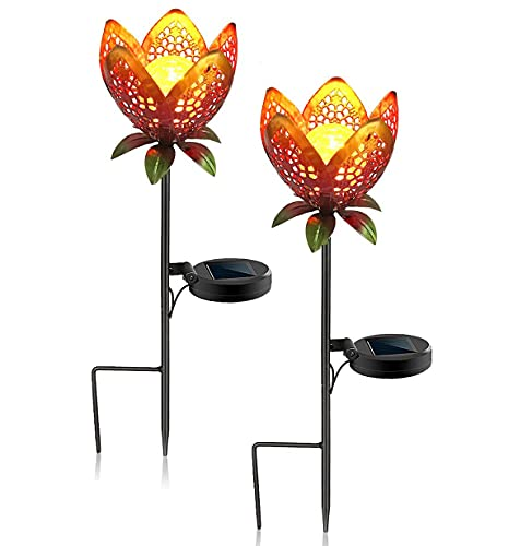 Azly Luces solares para jardín al Aire Libre, Luces de césped con Forma de Flor de Rosas Huecas, iluminación Decorativa LED Impermeable para paisajes, para pasarelas de Patio, Blanco cálido