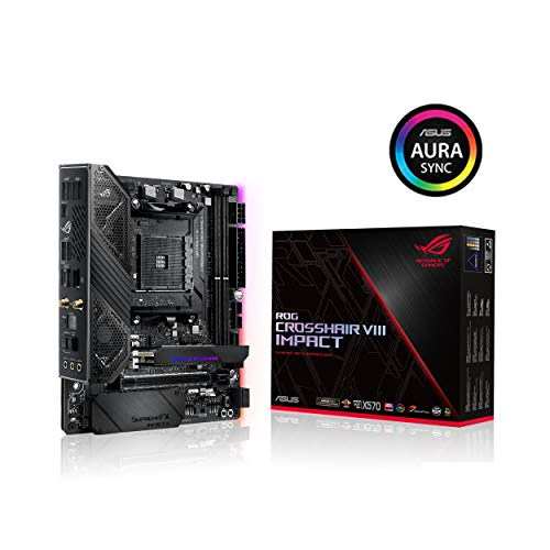 Asus ROG (X570) Crosshair VIII Impact, AMD, AM4, Ryzen 3000, (Mini-DTX) SFF Gaming Motherboard with PCIe 4.0, On-board Wifi 6 (802.11Ax), Intel LAN, SATA 6GB/s, USB 3.2 Gen 2, SO-DIMM.2 and Aura Sync