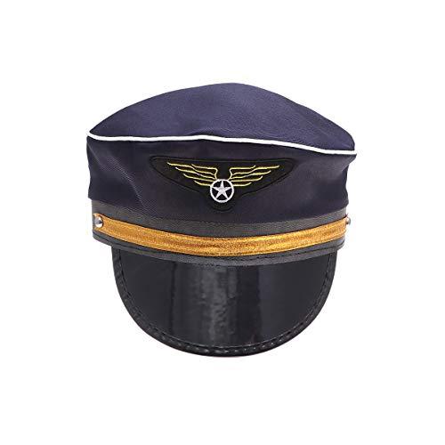 Amosfun Nio Capitn Piloto Sombrero Avin Capitn Cap Nios Baile Fiesta Cosplay Disfraz(Azul)