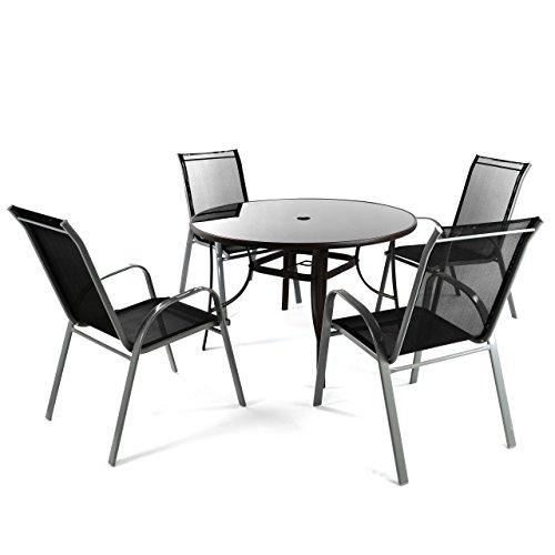 Nexos 5-teiliges Gartenmöbel-Set – Gartengarnitur Sitzgruppe Sitzgarnitur aus Stapelstühlen & Esstisch rund – Alu Kunststoff Glas – braun/schwarz