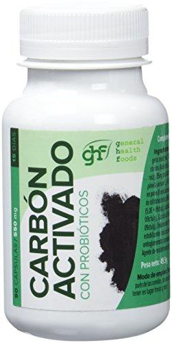 GHF - Carbón vegetal probiótico, 90 cápsulas, 550 mg