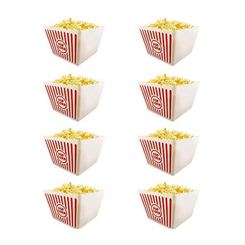 St@llion Popcorn-Behälter für Filmabend, Kunststoff, Rot / Weiß gestreift, 8 Stück