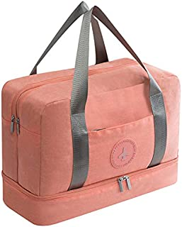 TOOGOO New Cationic Fabric Waterproof Travel Bag Large Capacity Double Layer Beach Bag Portable Duffle Bags Packing Square Weekend Bags,Pink