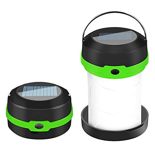 CareMont Linterna LED para Acampar con EnergíA Solar USB Plegable PortáTil Recargable para Senderismo, Tienda de CampaaA, Caza, Verde