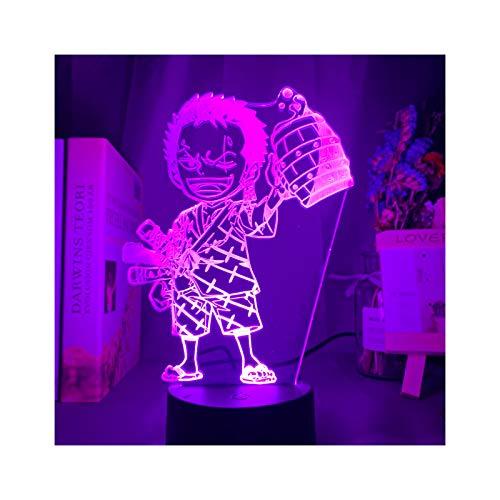 TIDRT Animación Una Pieza De Luz Nocturna Led por Roronua Zoro Figura Luz Nocturna para Niños Decoración De Dormitorio para Niños Mesa USB Regalo De Luz 3D