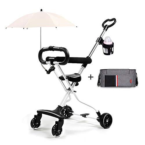 Triciclos- Bicicleta Plegable para Niños, Rueda De Trike Ligera para Bebés con Sombrilla Y Bolsa para Momias, 1-6 Años (Color : Blanco)