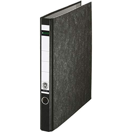 Leitz Standard-Ordner (ohne Schlitze, A4, Rückenbreite 3,5 cm, zwei-Ring-Reißmechanik, Pappe RC, mit Wolkenmarmorkaschierung) schwarz, 5 Stück