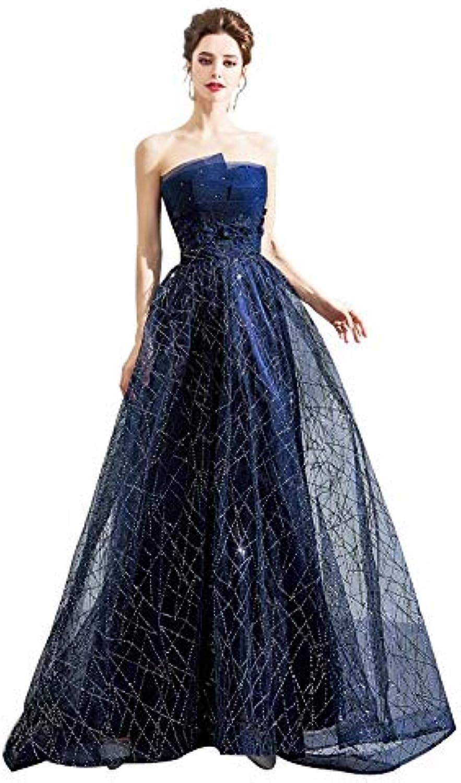 Star Skirt bluee Sleeveless Tube Top Dinner Annual Meeting Dress Host Dress (Size   L)