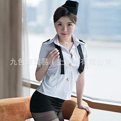 lightmhy Unterwäsche & Dessous für Damen Panties & Hipsters für Damen Sexy Dessous sexy Uniform Stewardess Kostüm Cosplay Anzug Frauenkleider + Rock + Krawatte + Hut S