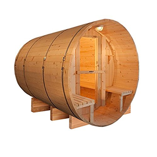 ALEKO SB5CEDARCP Rustic Red Cedar Indoor Outdoor Wet Dry Barrel Sauna with Front Porch Canopy and 4.5 kW ETL Certified Heater 5 Person 71 x 72 x 75 Inches