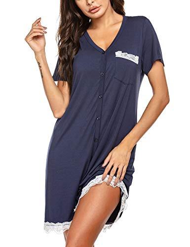 UNibelle Damen Gestreiftes Einfarbiges Nachthemd Kurzarm V-Ausschnitt Schlafshirt mit KnopfleisteNavyblau, S