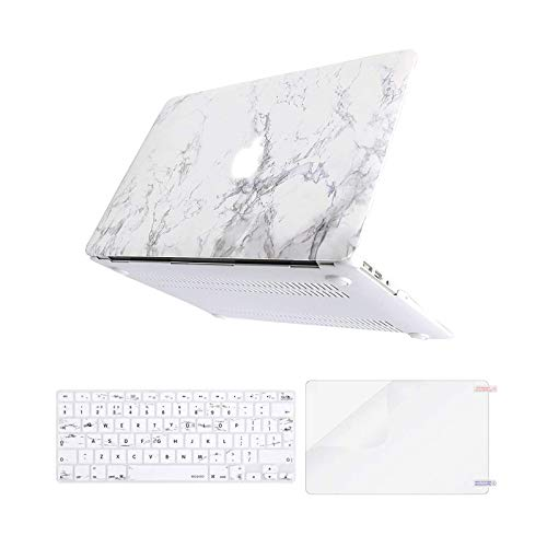 MOSISO Case Compatible with MacBook Air 13 Inch A1369/A1466, Older Version Release 2010-2017, Plastic Shell Cover & Matching Color Keyboard Cover EU Layout & Screen Protector, White Marble