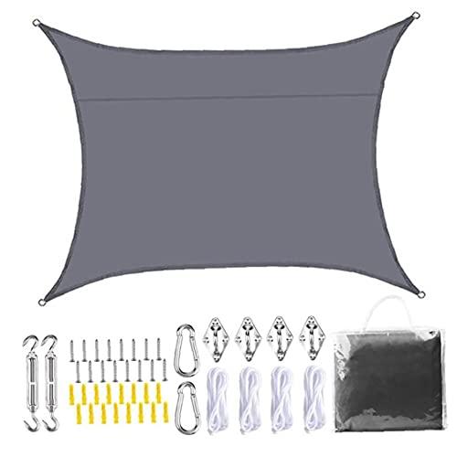 Ohomr Sun Sail Shade, Jardín protección UV Impermeable Toldo Toldo con Hardware Kit de 3x2m Gris