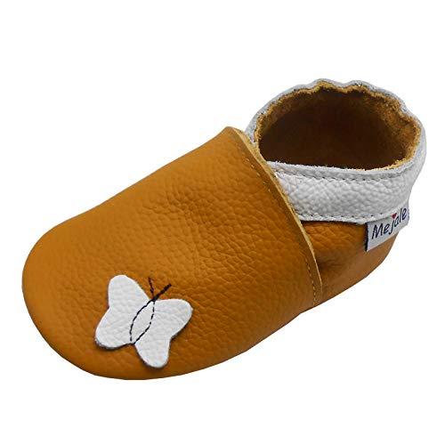 Mejale Zapatillas de piel suave para bebé con suela de goma para mayor agarre y antideslizante, para niños y niñas, color Marrón, talla 21/22 EU