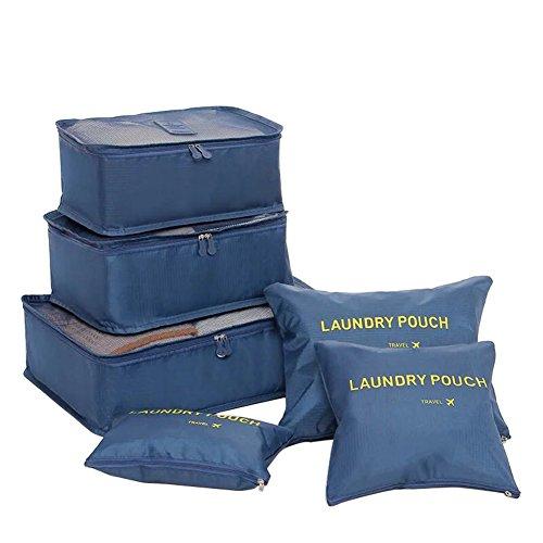 FunYoung Kleidertaschen-Set 6-teilige Reisetasche in Koffer Wäschebeutel Schuhbeutel Kosmetik Aufbewahrungstasche Farbwahl (Schwarzblau)