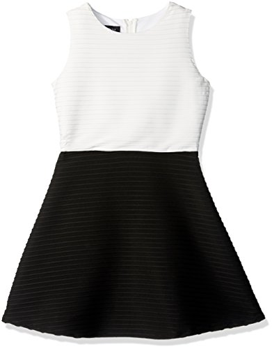 Amy Byer Girls' Big Picture and Flare Textured Knit Dress, Ivory/Black, 16