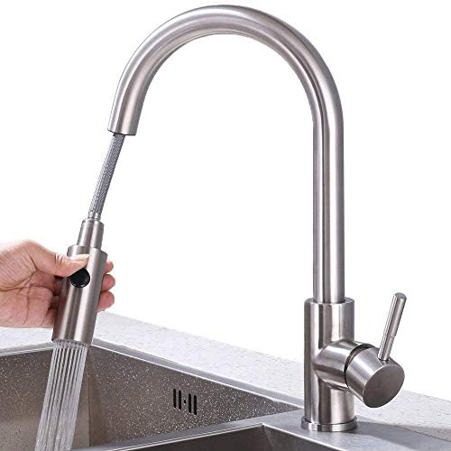 HOMELODY Wasserhahn Küche ausziehbar Küchenarmatur mit Brause Spültischarmatur Edelstahl Mischbatterie Armatur Küche, Matt…
