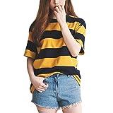 SPI Donna T-Shirt a Righe Gialle e Nere Collo Tondo T-Shirt a Mezza Manica Allentata Top e Abbigliamento Casual, Oro, XL