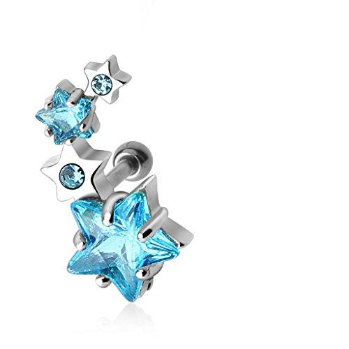 BlackAmazement Tragus Piercing Helix Ohr Stern Star Zirkonia Kristalle Aqua klar Weiss Steine (Farbe Aqua - für rechtes Ohr)