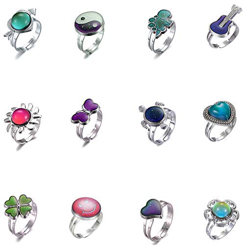 LH1028 12pcs Mixed Mood Rings Classic Temperature Change Color Mood Ring Lovers (Adjustable Size) (12pcs-1)