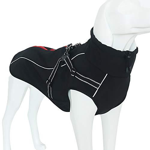 Urijk Hunde Jacke Winterjacken Wasserdicht Hundemantel Winddicht Weste Haustier Regenmantel Bauchschutz mit Leine Loch für mittele große Hund