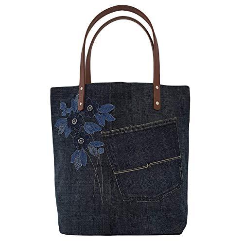 Damen Canvas Handtasche, Schultertasche Casual, Jeanstasche Shopper groß, Arbeitstasche Damen, Geräumige Alltagstasche Blau