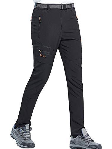 DAFENP Pantalones Trekking Hombre Impermeable Pantalones de Escalada Senderismo Alpinismo Ligero Secado Rápido Transpirable Aire Libre KZ1605M-Black1-S