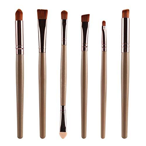MERIGLARE 6 Pièces Pinceaux De Maquillage Pour Les Yeux Doux Pinceau à Paupières Applicateur Crème Brosse Ensemble De Pinceaux - Café doré