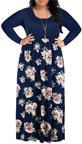 Nemidor Women s Chevron Print Long Sleeve Plus Size Casual Maxi Dress 20W Navy Print Long product image