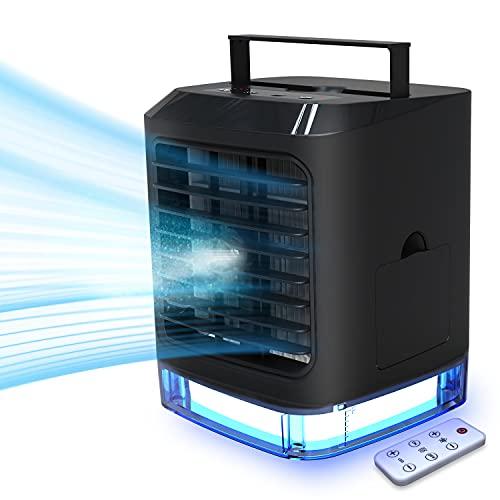 Condizionatore Portatile Personale 4-in-1 Raffrescatore, Ventilatore, Umidificatore, Depuratore 7 Colori Luce Notturna Climatizzatore Evaporativo con 3 Livelli di Raffreddamento per Ufficio, Camera