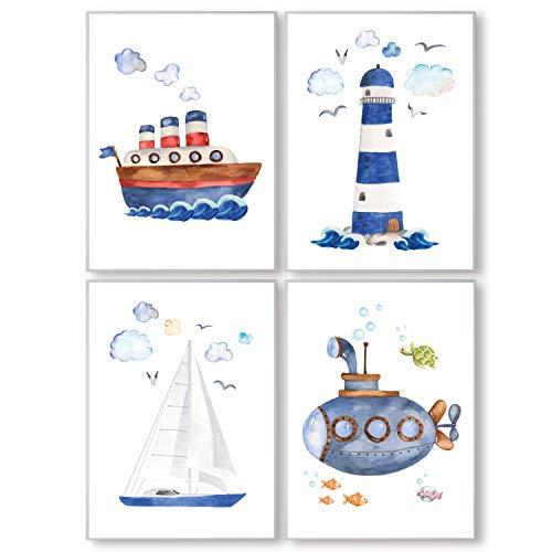 Pandawal Ahoi Poster 4er Set DIN A4 Kinder Bilder für Junge und Mädchen Kinderzimmer Deko blau Maritim mit Meer Möwen Schiff Leuchtturm Uboot T18